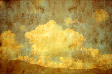 vintage mountain sky and clouds