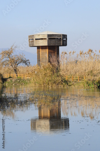 Wooden tower in the Hula Valley, Israel