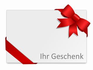Karte Schleife - ihr Geschenk