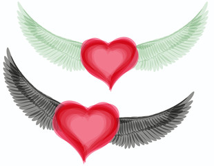Vector good and evil hearts with wings