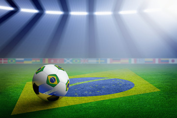 Soccer stadium, flag of Brazil