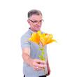 Mann mit Blume