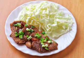 Shogayaki. Japanese food. Ginger Pork