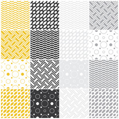 geometric seamless patterns: polka dots, waves, chevron