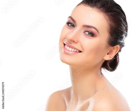 Beautiful Girl Touching Her Face. Beauty Face. Makeup