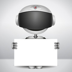 robot holding white paper to write your text