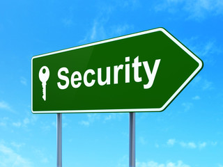 Security concept: Security and Key on road sign background