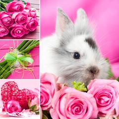 Kaninchen mit Rosen