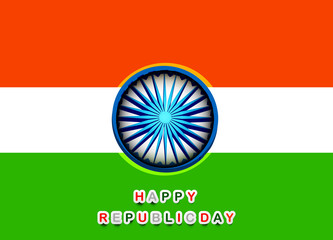 Beautiful Happy republic day indian flag tricolor background vec