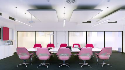 konferenzraum mit lila stühlen - conference room