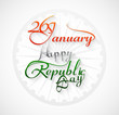 Beautiful 26 january calligraphy happy republic day text tricolo
