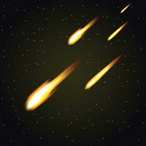 Meteor shower and dark space in background (vector)