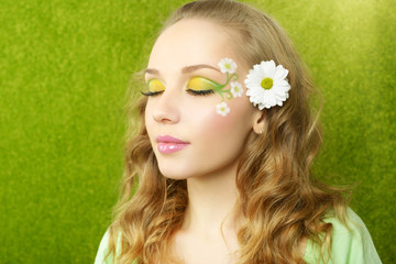 Girl with beautiful make-up on