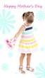Little cute girl holding flowers