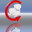 Kreispfeil 3d Diskussion rot