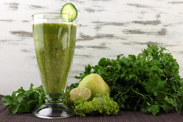 Glasses of green vegetable juice