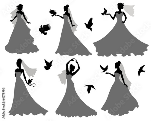 Bride and birds.