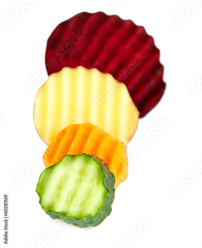 Beautiful sliced vegetables, isolated on white