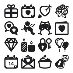 Valentines Day flat icons. Black