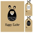 Easter card with bunny hare and egg, invitation, vector