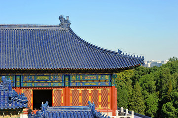 the roof of the pagoda at the temple of heaven in Beijing, China