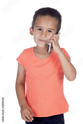 little boy with orange   shirt and mobile phone