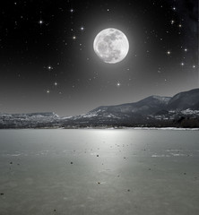 Moonlight on the iced lake