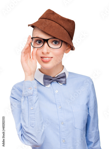 A young pretty nerd girl with large glasses