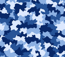 Blue camouflage seamless pattern