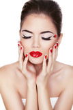 Fashion Beauty. Manicure and Make-up. Nail art. Beautiful Woman