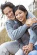 Asian Man Woman Romantic Couple on Beach Dunes