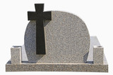 Marble tombstone with black cross