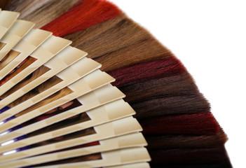 Hair samples of different colors, isolated on white
