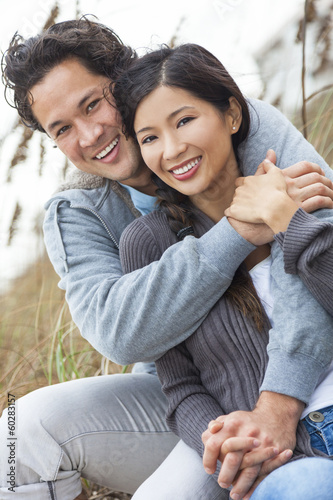 Asian Man Woman Romantic Couple on Beach Dunes