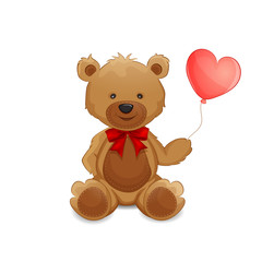 Cute teddy bear with balloon