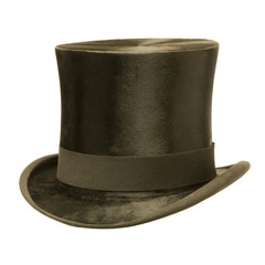 Formal Black Top Hat against White