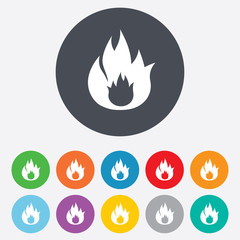 Fire flame sign icon. Fire symbol.
