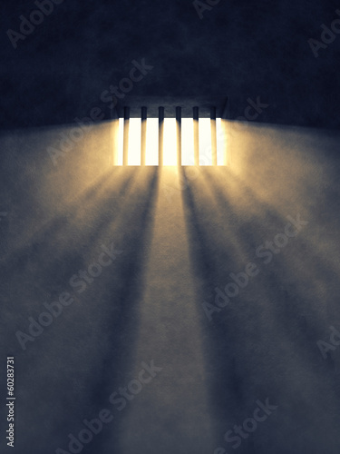 Prison cell interior , barred window , Freedom