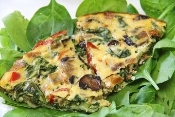 roasted vegetable fritatta serving