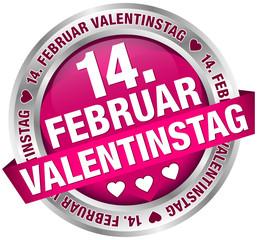 "Button Banner ""14. Februar Valentinstag"" pink/silber"