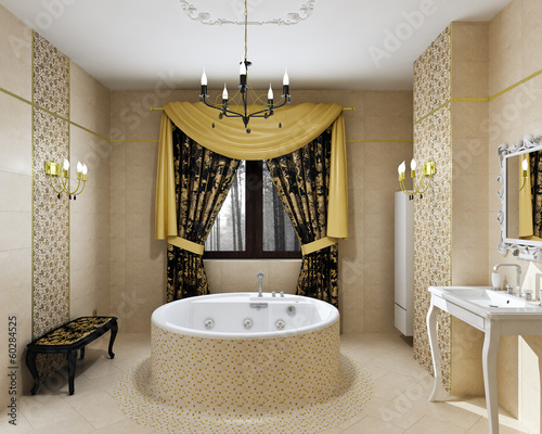 Luxury bathroom interior in daylight