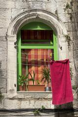 Window of Diocletian palace in Split, town in Croatia