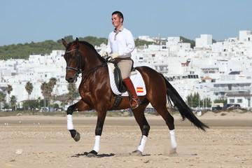 Spanischer Reiter vor weißem Dorf