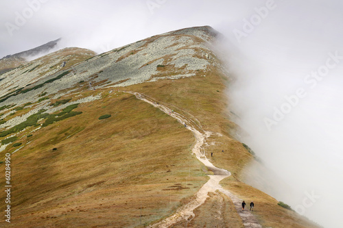 Fog on the ridge of Low Tatras, mountain in Slovakia