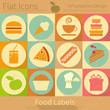 Flat Food Icons Set
