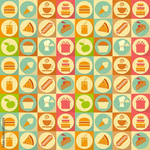 Flat Food Seamless Background