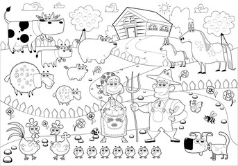 Funny farm family in black and white.