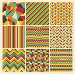 Seamless retro geometric hipster background set. Patterns