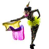 woman harlequin circus dancer performer  silhouette poster