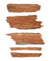 Collection pieces of broken planks isolated on white